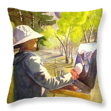 Painters Paradise Throw Pillow by Marilyn Jacobson