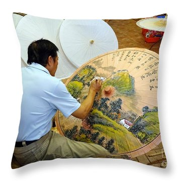 Throw Pillow featuring the photograph Painting Chinese Oil-paper Umbrellas by Yali Shi