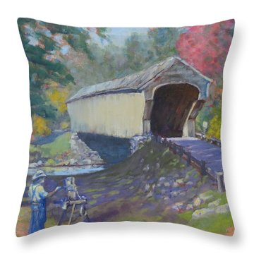 Painting Covered Bridge  Throw Pillow