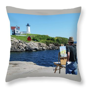 Painting Nubble Lighthouse Throw Pillow