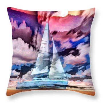 Painting Of Boats In Red Sunset Colors Throw Pillow