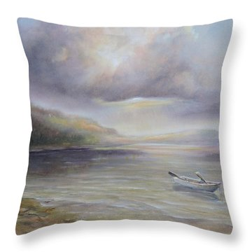 Beach By Sruce Run Lake In New Jersey At Sunrise With A Boat Throw Pillow