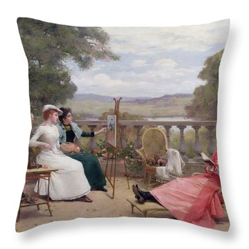 Painting On The Terrace Throw Pillow by Jules Frederic Ballavoine