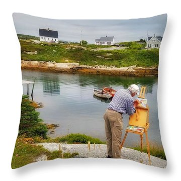 Painting Peggys Cove Throw Pillow
