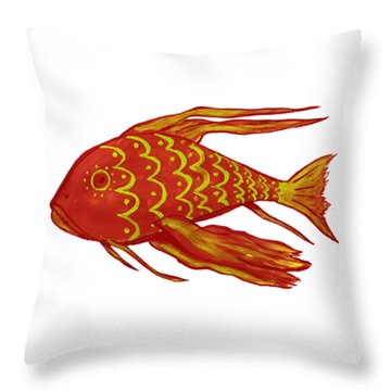Painting Red Fish Throw Pillow