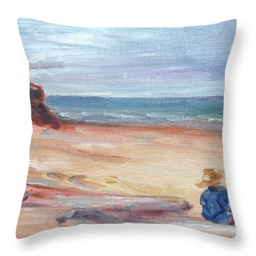 Painting The Coast - Scenic Landscape With Figure Throw Pillow