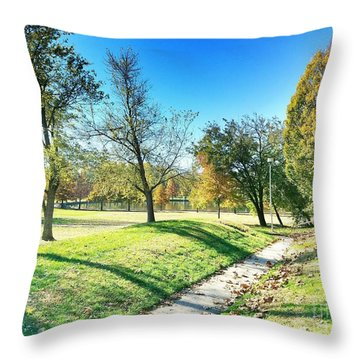 Painting With Shadows - Park Day Throw Pillow
