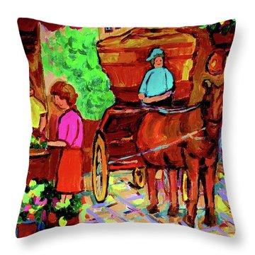 Paintings Of Montreal Streets Old Montreal With Flower Cart And Caleche By Artist Carole Spandau Throw Pillow by Carole Spandau