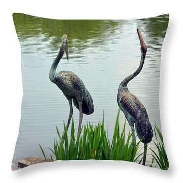 Pair Of Garden Herons Throw Pillow by Kathleen Stephens