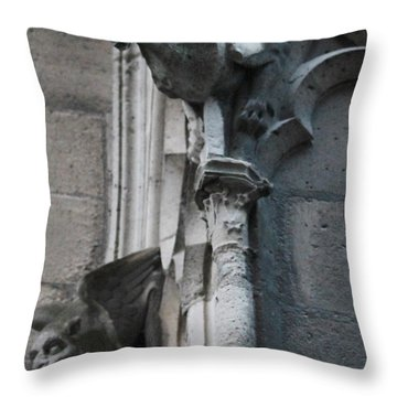 Pair Of Griffons Of Notre Dame Throw Pillow
