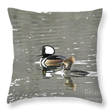 Throw Pillow featuring the photograph Pair Of Hooded Mergansers by Larry Ricker