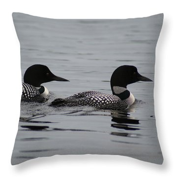 Pair Of Loons Throw Pillow by Steven Clipperton