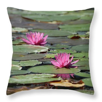 Pair Of Pink Pond Lilies Throw Pillow