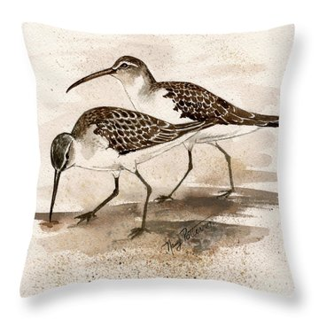 Pair Of Sandpipers Throw Pillow by Nancy Patterson