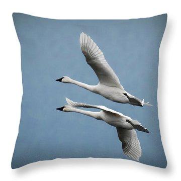 Pair Of Tundra Swan Throw Pillow