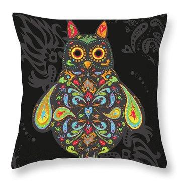 Paisley Owl Throw Pillow