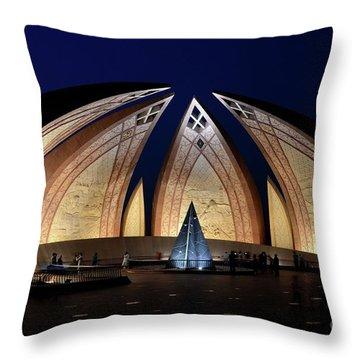 Pakistan Monument Illuminated At Night Islamabad Pakistan Throw Pillow