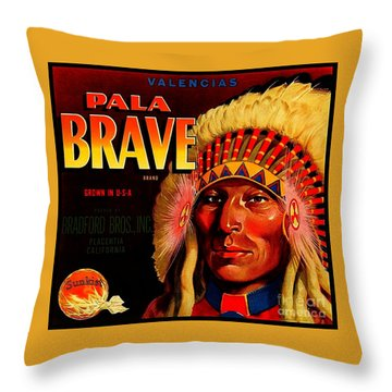 Throw Pillow featuring the painting Pala Brave 1920s Sunkist Oranges by Peter Gumaer Ogden