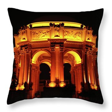 Palace Of Fine Arts - Dome At Night Throw Pillow