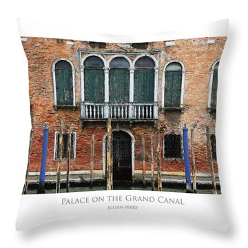 Throw Pillow featuring the digital art Palace On The Grand Canal by Julian Perry