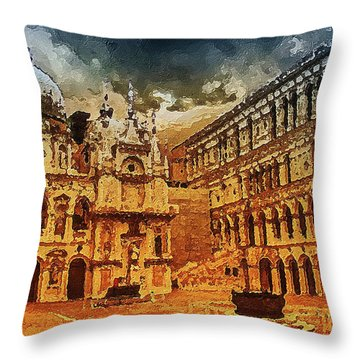 Throw Pillow featuring the digital art Palace Painting by PixBreak Art