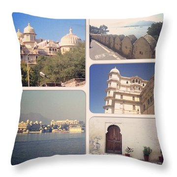 Palaces At Udaipur Throw Pillow