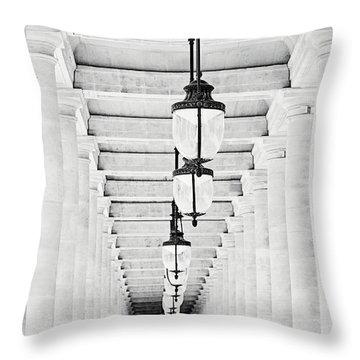 Palais-royal Arcade Black And White - Paris, France Throw Pillow