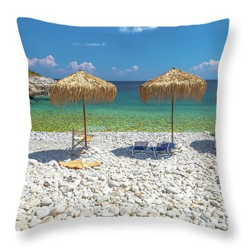 Palapa Umbrellas Throw Pillow