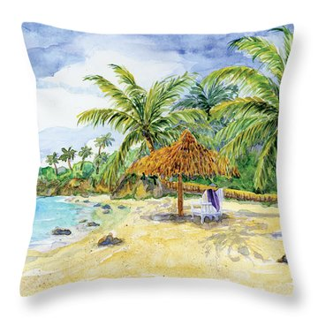 Palappa N Adirondack Chairs On A Caribbean Beach Throw Pillow by Audrey Jeanne Roberts