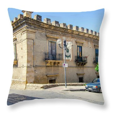 Palazzo Branciforte Or Braranciforti Sicily Throw Pillow by Caroline Stella