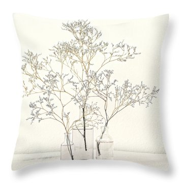 Pale Blue Flowers On White Throw Pillow