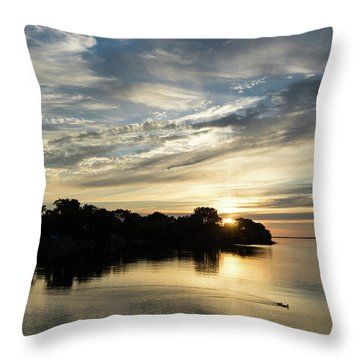 Pale Gold Sunrays - A Cloudy Sunrise With Two Ducks Throw Pillow