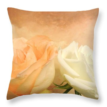 Pale Peach And White Roses Throw Pillow by Marsha Heiken