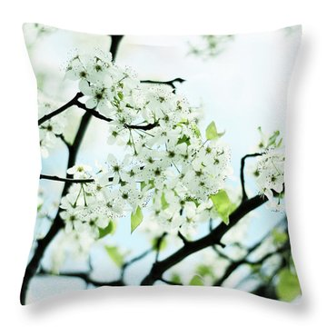Throw Pillow featuring the photograph Pale Pear Blossom by Jessica Jenney