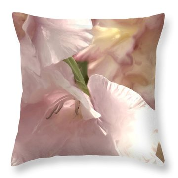 Pale Pink Glads Throw Pillow