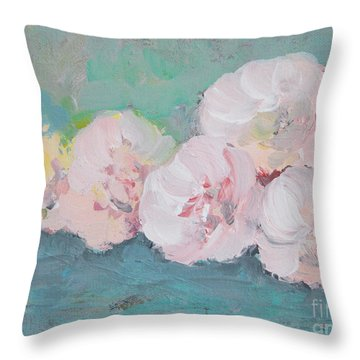 Pale Pink Peonies Throw Pillow by Robin Maria Pedrero