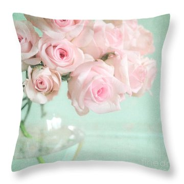 Pale Pink Roses Throw Pillow by Lyn Randle