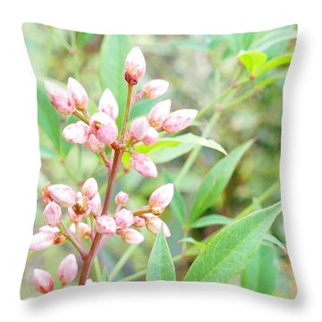 Pale Powder Pink Plant Throw Pillow