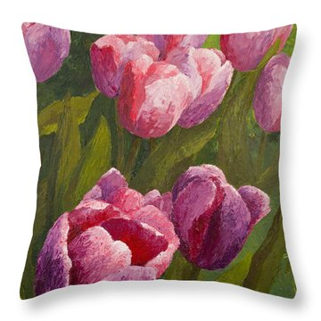Palette Tulips Throw Pillow