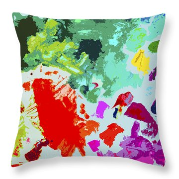 Throw Pillow featuring the painting Palettescape by Jeanette French