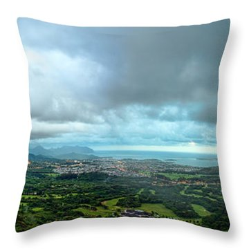 Throw Pillow featuring the photograph Pali Lookout Dawn by Dan McManus