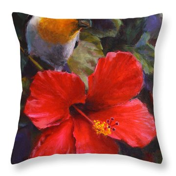 Palila And Hibiscus - Hawaiian Painting Throw Pillow