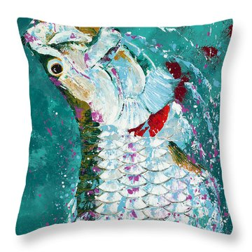 Pallet Knife Jumping Tarpon Throw Pillow by Kevin Brant