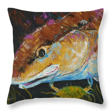 Pallet Knife Redfish And Blue Crab Throw Pillow