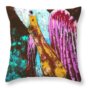 Pallet Knife Spoonbill Throw Pillow