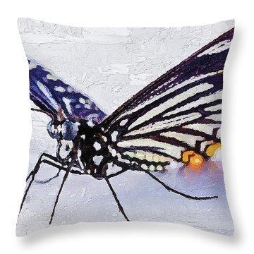 Throw Pillow featuring the digital art Pallete Knife Painting Blue Butterfly by PixBreak Art