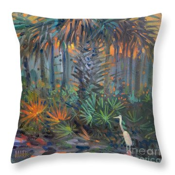 Palm And Egret Throw Pillow by Donald Maier