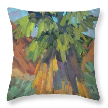 Throw Pillow featuring the painting Palm At Santa Rosa Mountains Visitors Center by Diane McClary