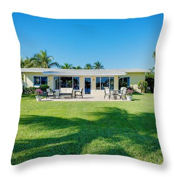 Palm Back Yard Throw Pillow