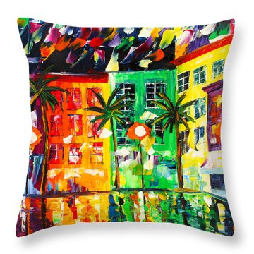 Palm Beach At Night Throw Pillow